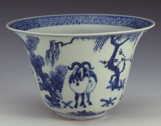 嘉靖 景德镇窑青花松竹梅三羊图碗-古人眼中的羊 羊之艺术展